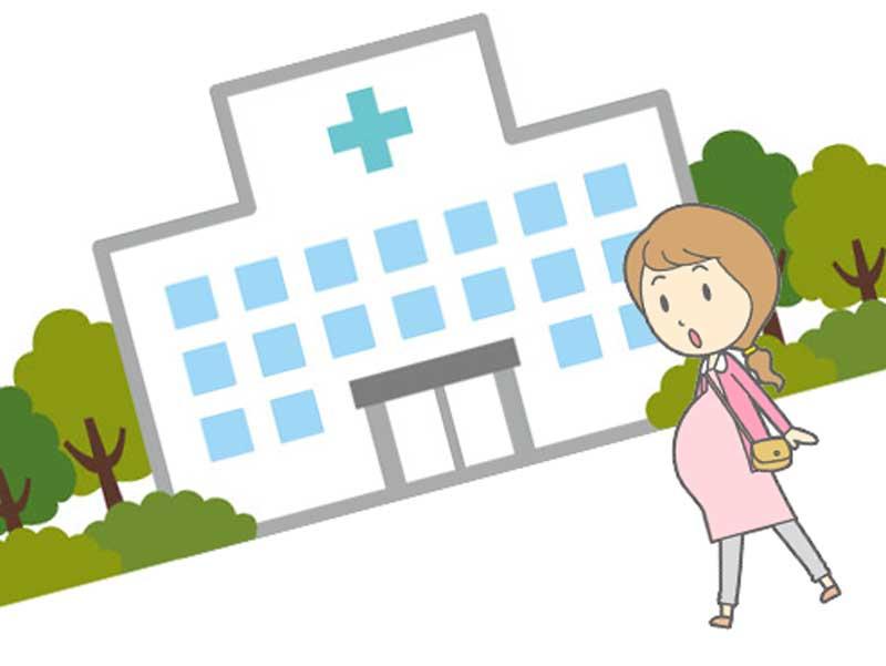 産科病院のプールに向かう妊婦さんのイラスト