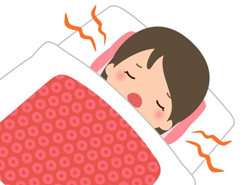 寝ながら口呼吸している子供のイラスト
