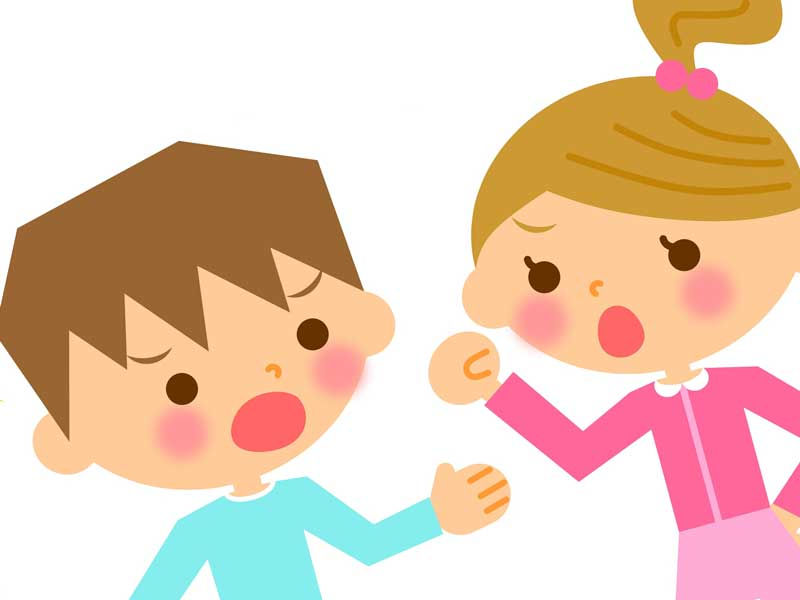 友達と喧嘩する子供のイラスト