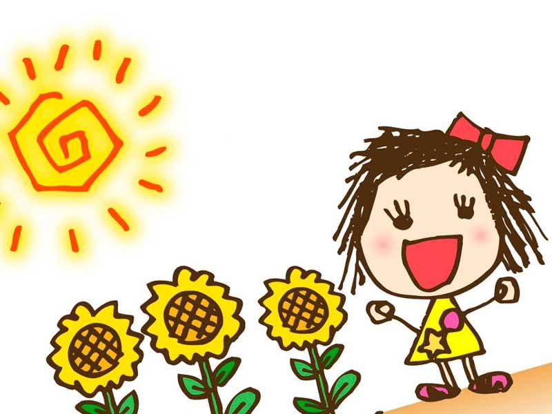 太陽の日を浴びる女の子のイラスト