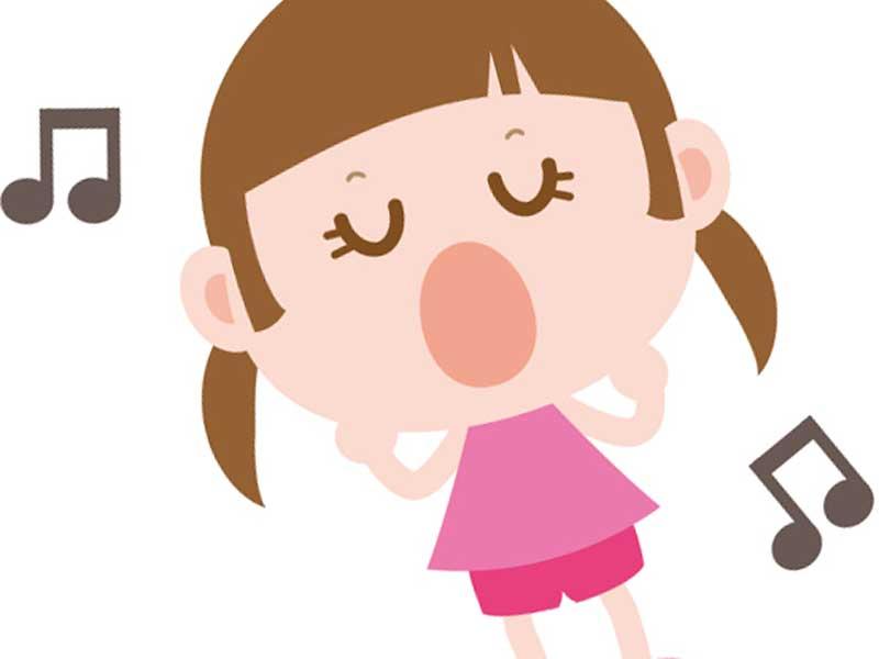 歌を歌っている女の子のイラスト