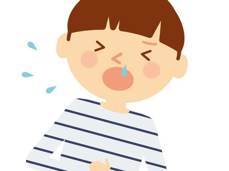 くしゃみと鼻水が出てる子供のイラスト
