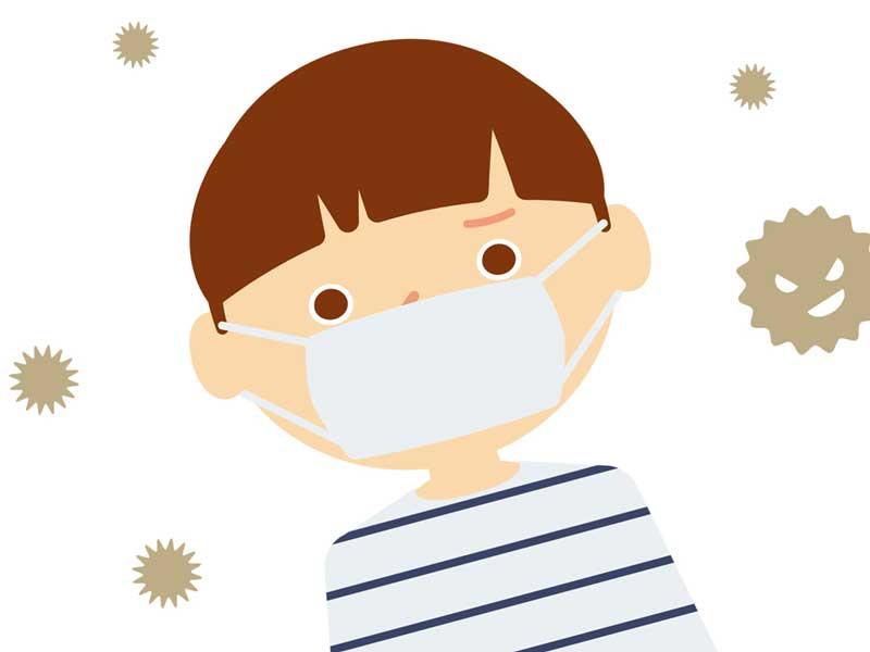 マスクを着用している子供
