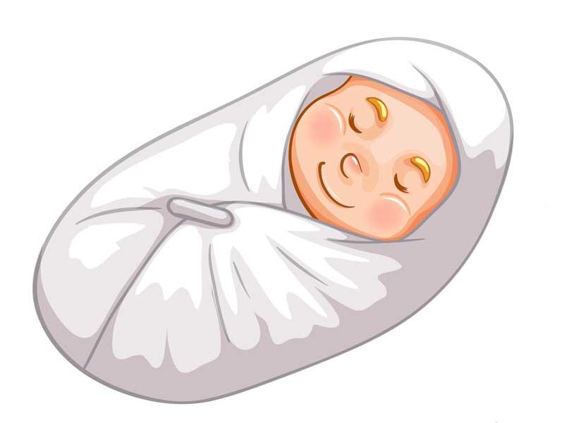 タオルに包まれている赤ちゃんのイラスト