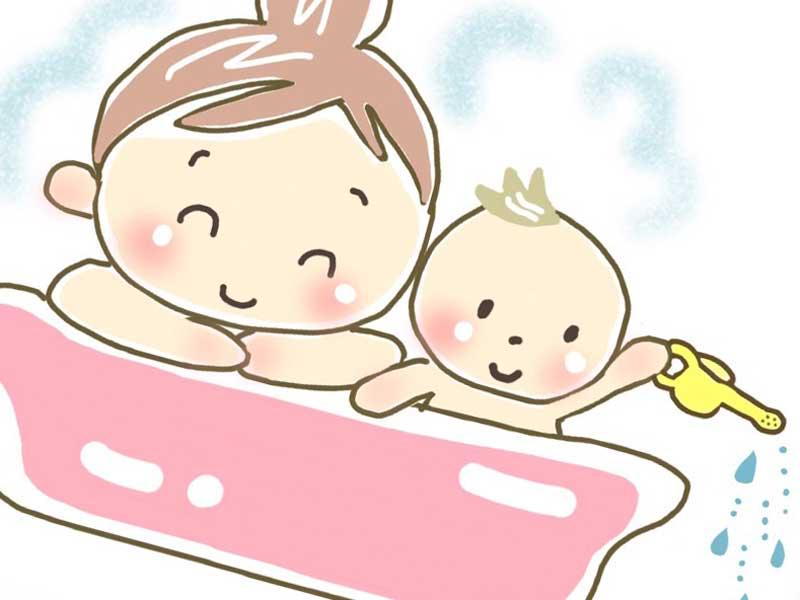 赤ちゃんと一緒にお風呂に入るお母さんのイラスト