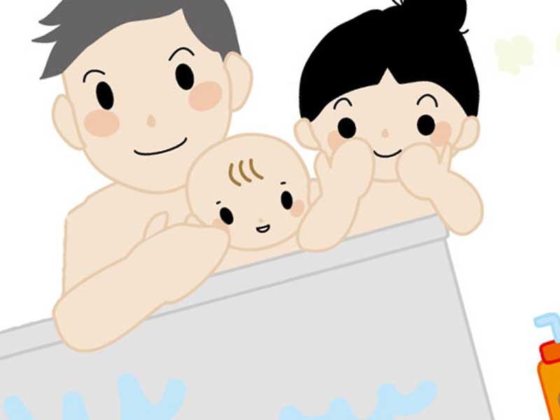 赤ちゃんと一緒にお風呂を入るパパとママのイラスト