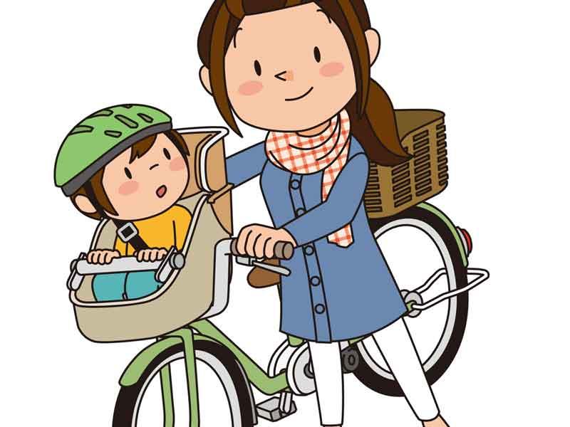 子供を自転車に乗せているお母さんのイラスト