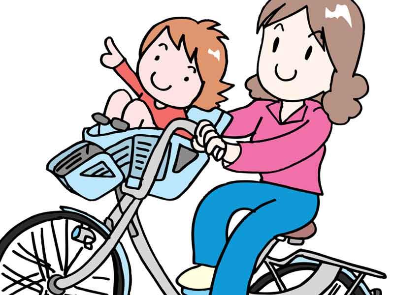前乗せタイプの子供乗せ自転車のイラスト
