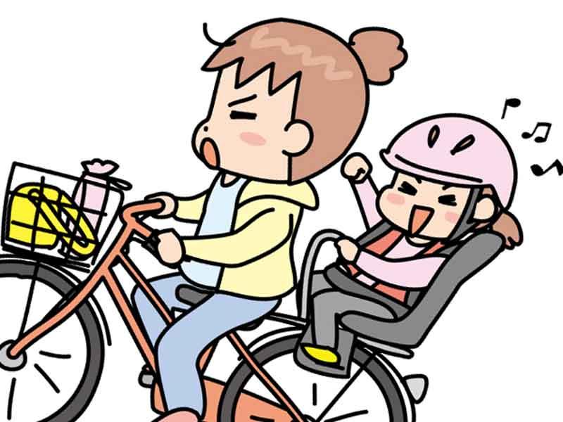 後ろ乗せタイプの子供乗せ自転車のイラスト
