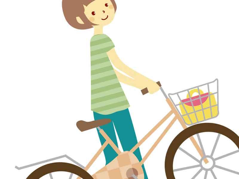 自転車を押し歩くお母さんのイラスト
