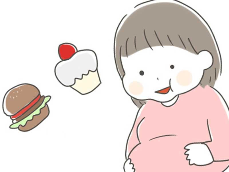 食欲が増す臨月の妊婦さんのイラスト