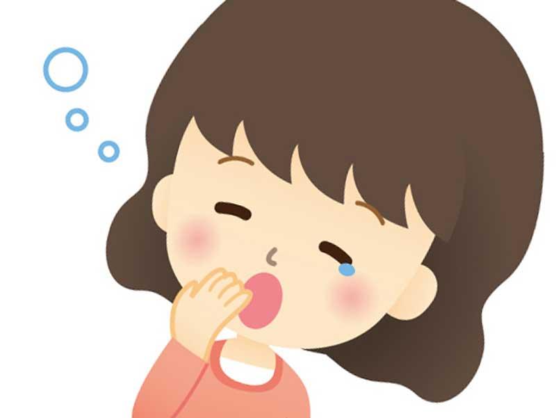 眠気を感じてアクビをしている臨月の妊婦さんのイラスト
