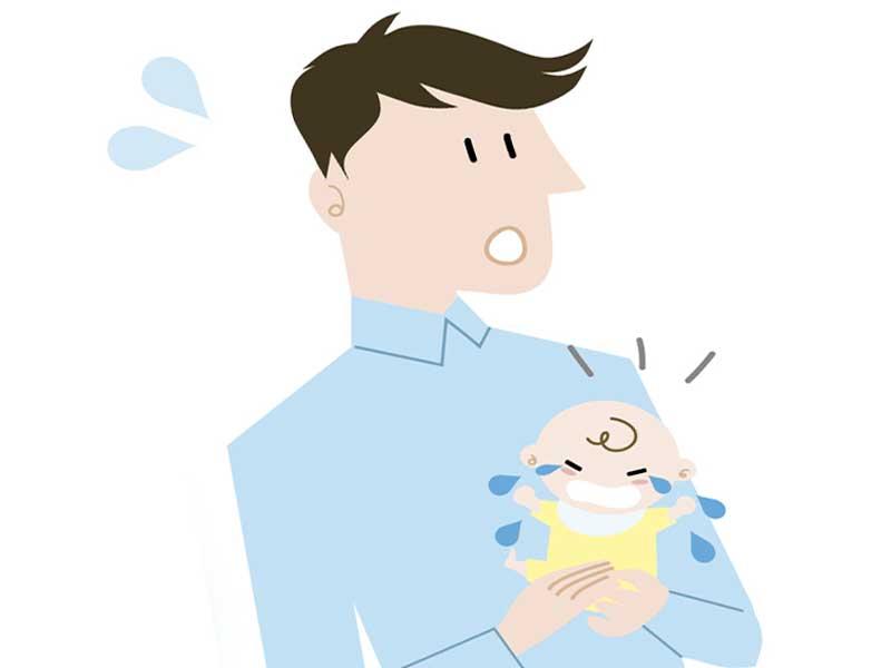 赤ちゃんのお世話をするお父さんのイラスト