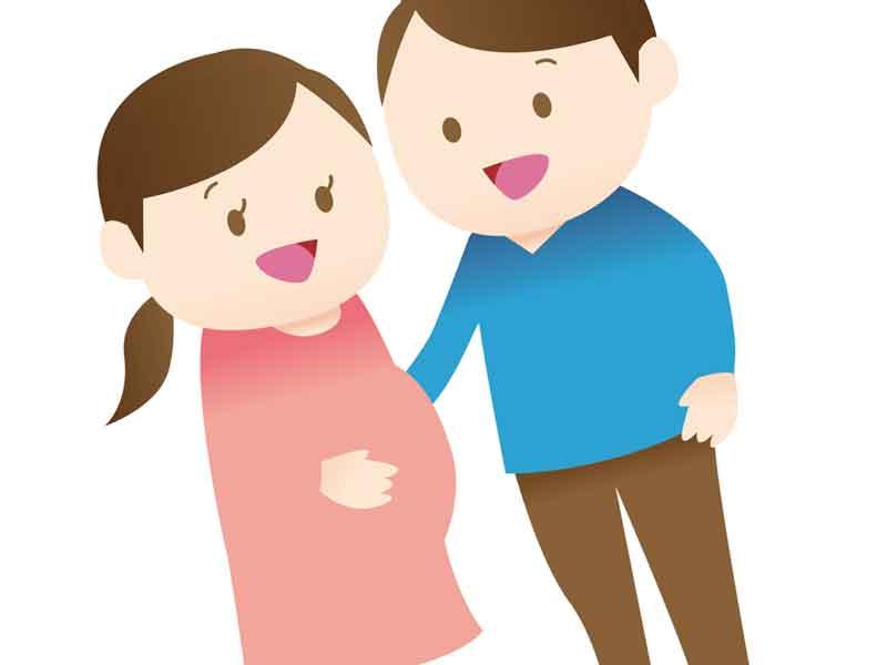 仲がいい妊婦さん夫婦のイラスト