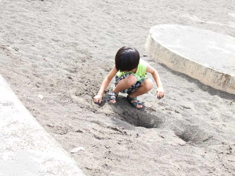 公園の砂場で遊んでいる男の子