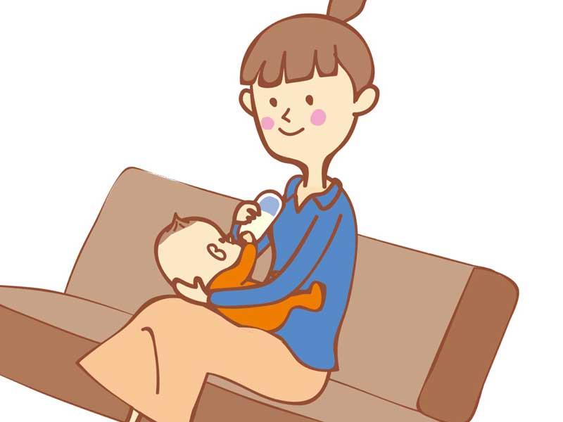赤ちゃんの授乳をしているお母さんのイラスト