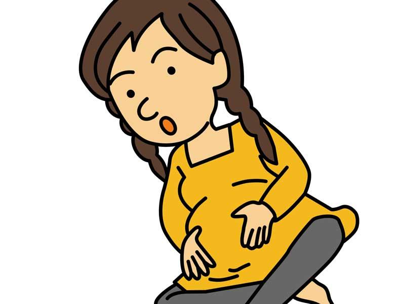 逆子体操をしている妊婦さんのイラスト