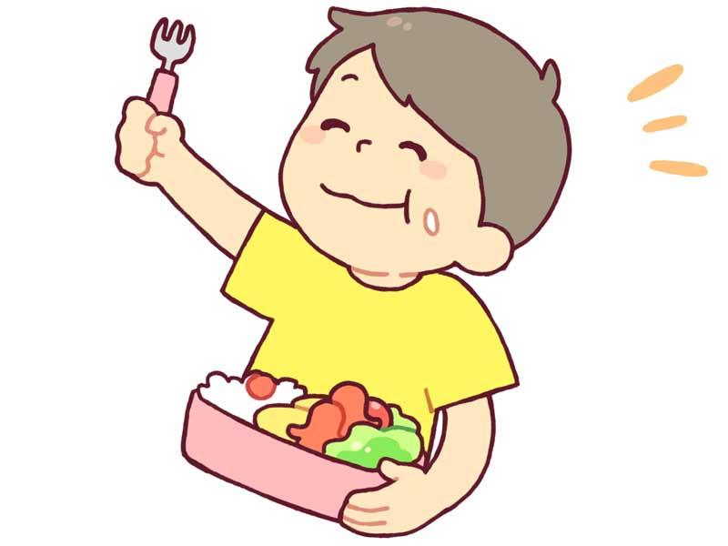 駅弁を食べる子供のイラスト