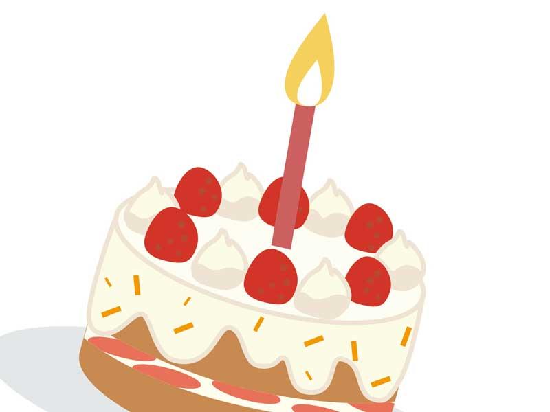 1歳の誕生日ケーキのイラスト