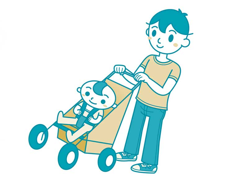 赤ちゃんを乗せたベビーバギーを押すパパのイラスト