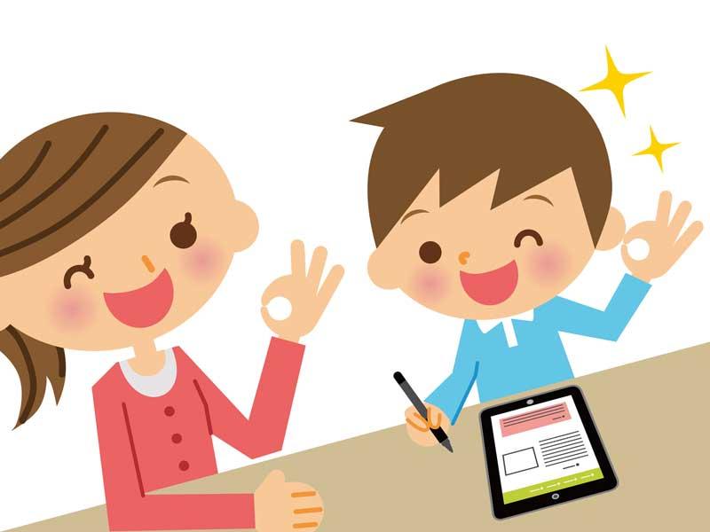 母親と一緒にアプリを使って勉強している男の子のイラスト
