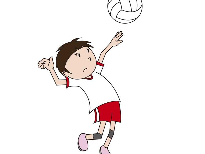 バレーボールをしている子供のイラスト