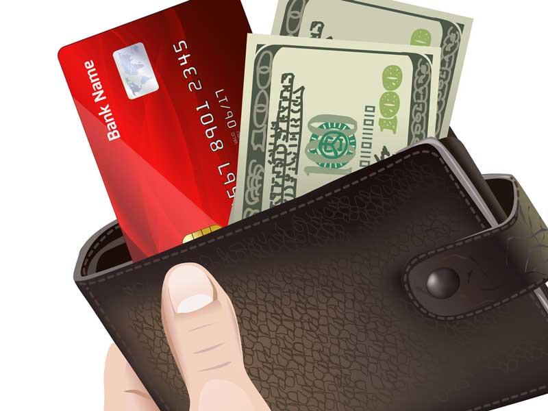 カードとお金が入っている財布のイラスト