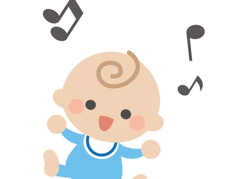 音楽を聞いている赤ちゃんのイラスト