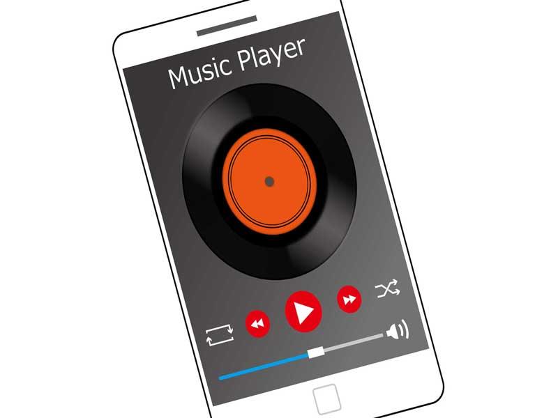 アプリで音楽をかけているスマホのイラスト