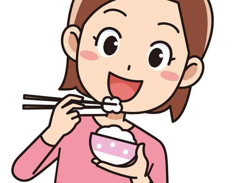 食事をしている妊婦さんのイラスト