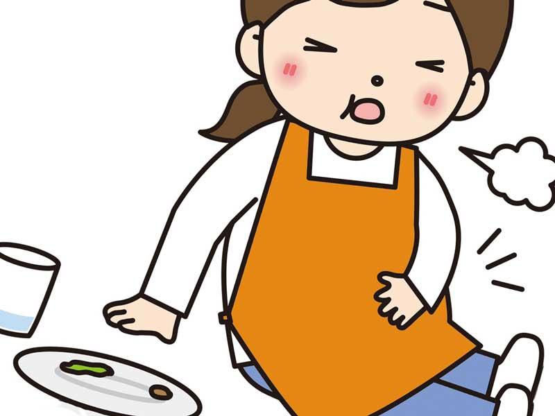 食べ過ぎてお腹をおさえている妊婦さんのイラスト