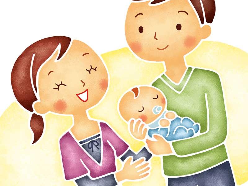 赤ちゃんを抱っこするパパとママのイラスト