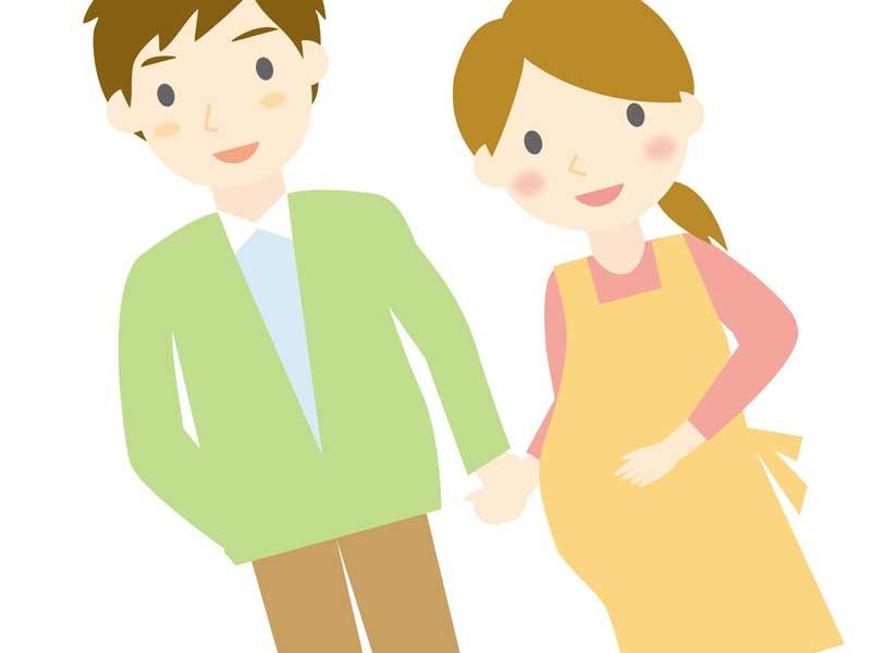妊婦の妻とデートする旦那のイラスト