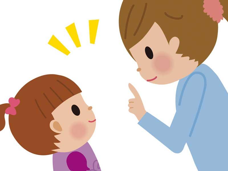 子供と話をしているママのイラスト