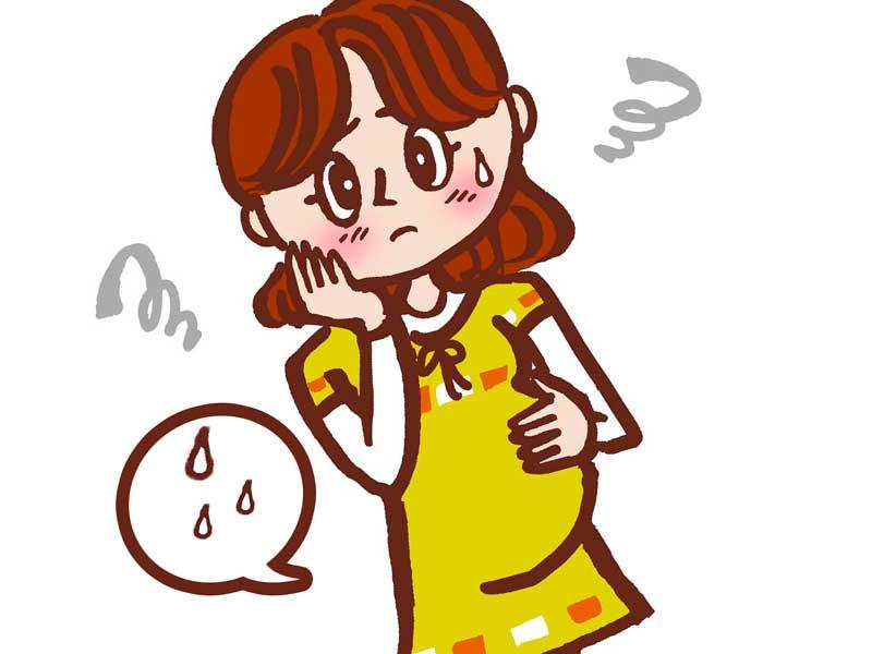 尿漏れで心配する妊婦さんのイラスト