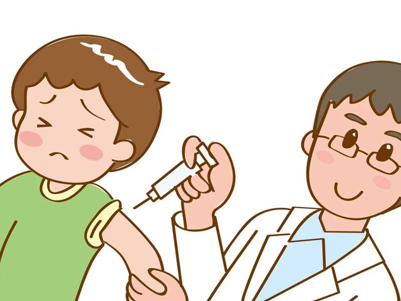 医者に注射されてる子供のイラスト