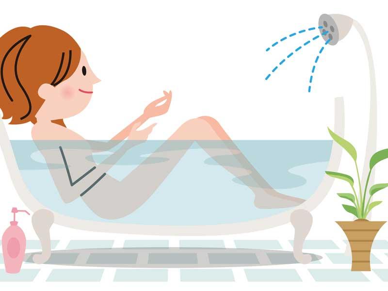 お塩風呂に入る女性のイラスト