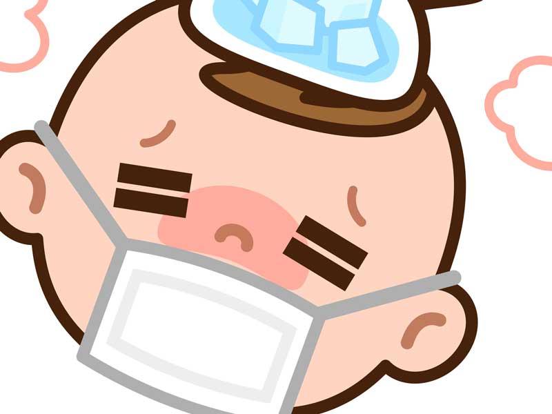 風邪を引いて熱が出ている赤ちゃんのイラスト