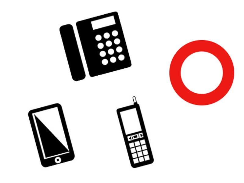 固定電話、スマホと携帯電話のイラスト
