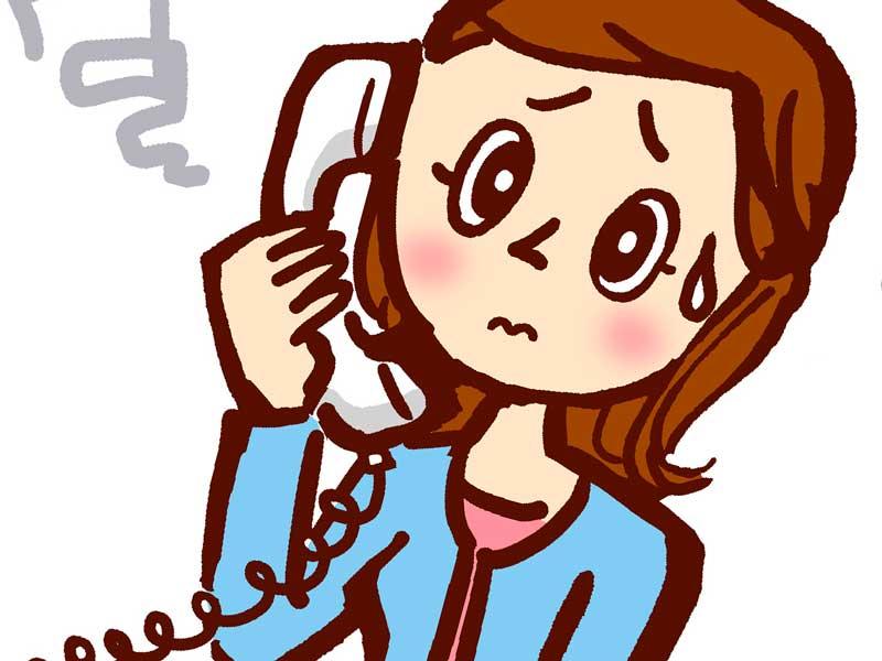 焦って電話するお母さんのイラスト