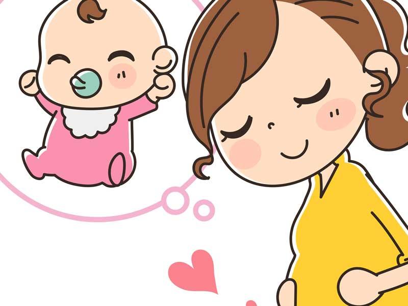 赤ちゃんを想像する妊婦さんのイラスト