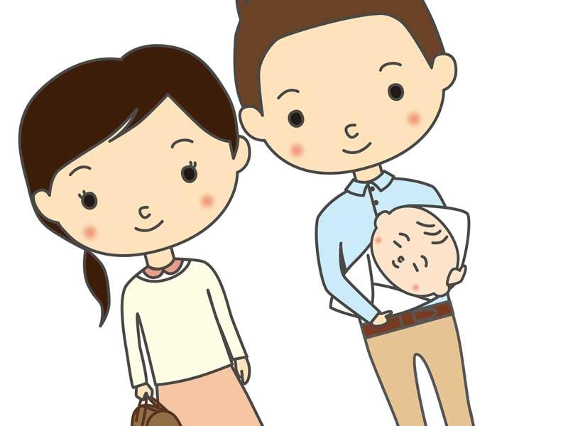 お父さんの付き添いで退院するお母さんと赤ちゃん