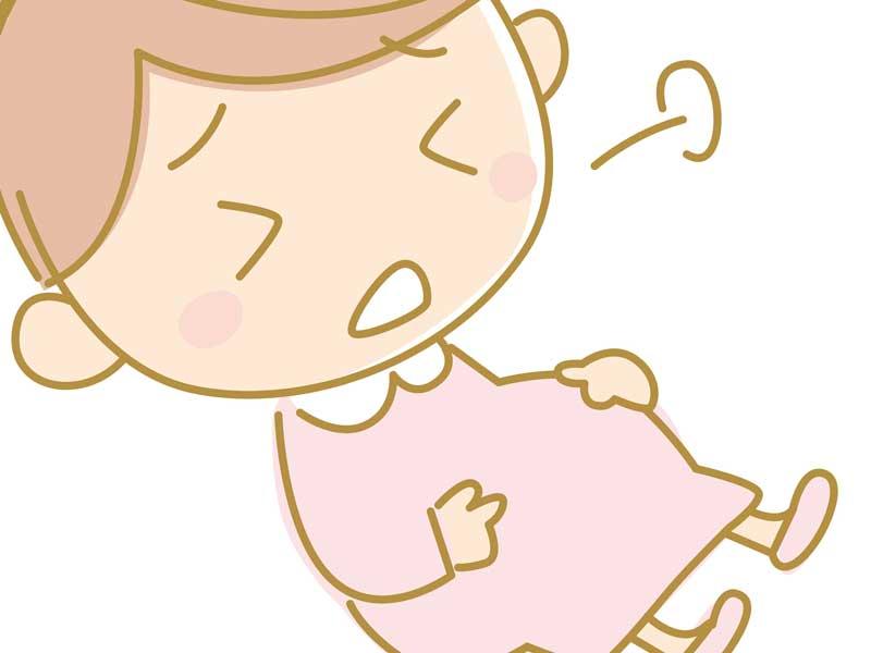 陣痛でお腹をおさえている妊婦さんのイラスト