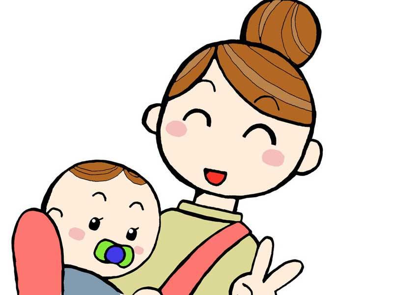抱っこ紐で赤ちゃんを抱っこするお母さんのイラスト