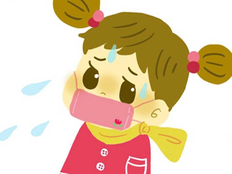 咳が出てマスクをしている子供のイラスト