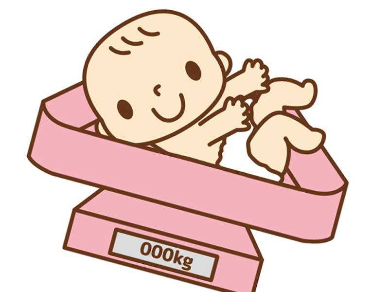 体重計に乗ってる赤ちゃんのイラスト