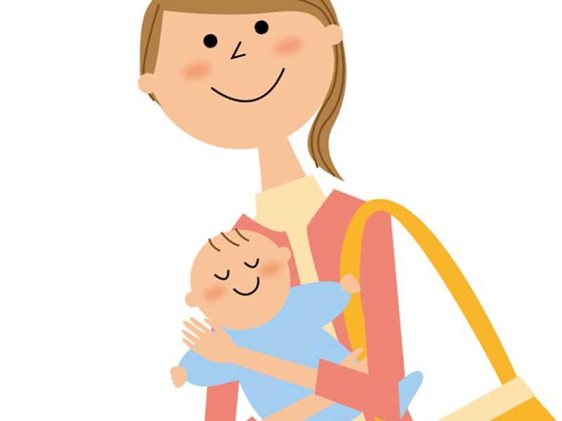 赤ちゃんを連れて外出するお母さんのイラスト