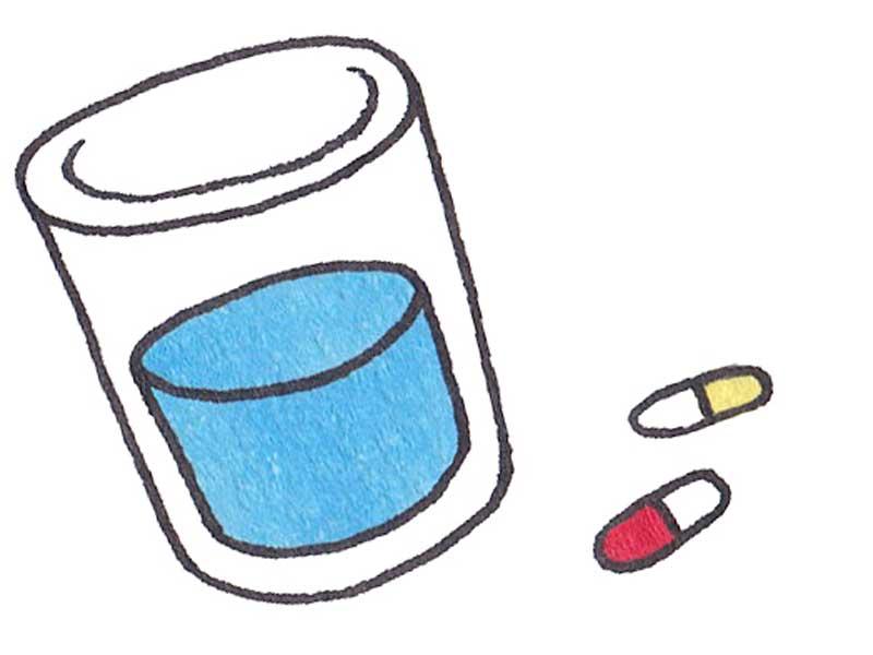 薬と水のイラスト