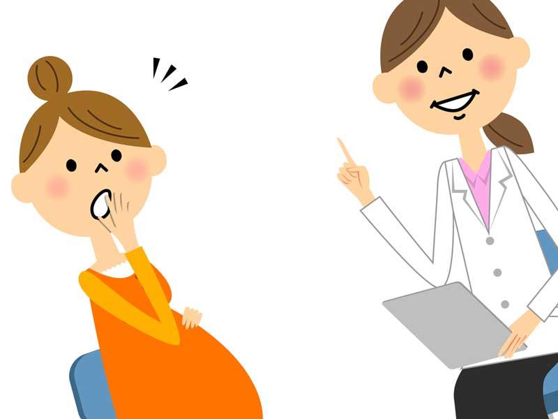 医者に相談している妊婦さんのイラスト