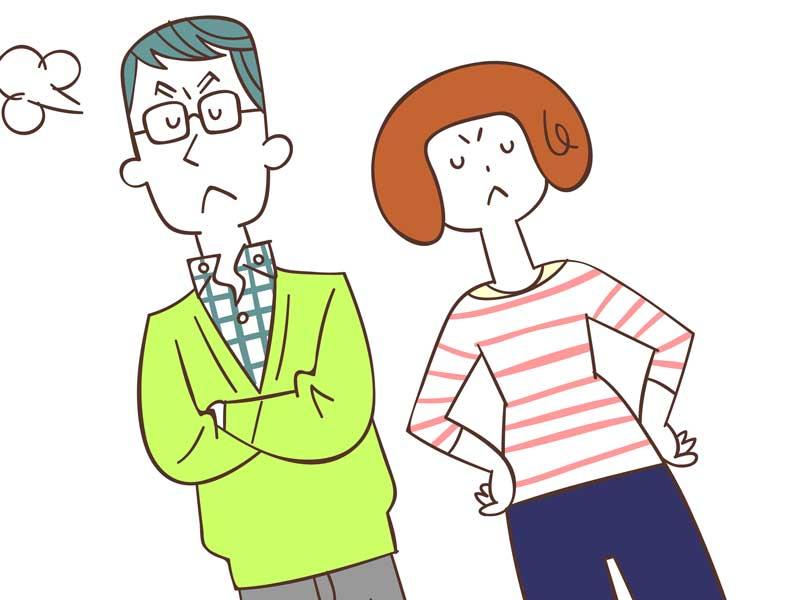 喧嘩する夫婦のイラスト